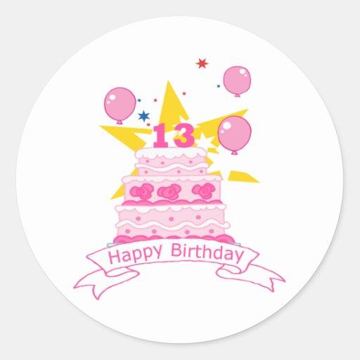 Torta de cumpleaños de 13 años etiquetas redondas