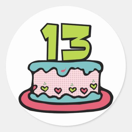 Torta de cumpleaños de 13 años pegatina redonda