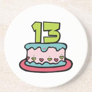 Torta de cumpleaños de 13 años posavasos manualidades