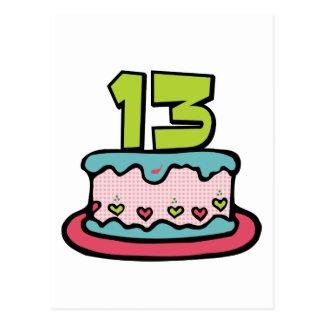 Torta de cumpleaños de 13 años postal