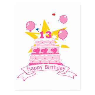 Torta de cumpleaños de 13 años postales