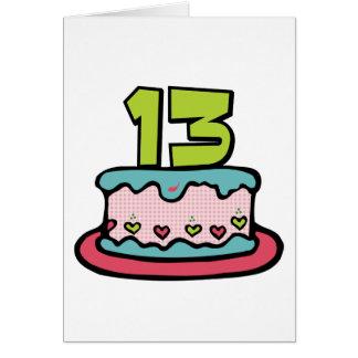 Torta de cumpleaños de 13 años tarjeta de felicitación