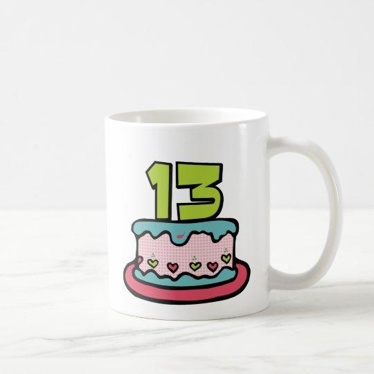Torta de cumpleaños de 13 años taza de café