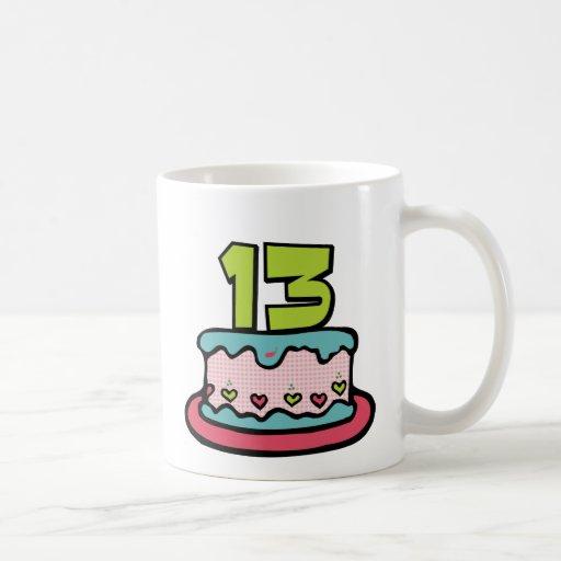 Torta de cumpleaños de 13 años tazas de café