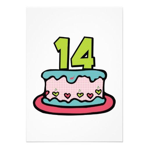 torta de cumplea os de 14 a os invitaci n 12 7 x 17 8 cm