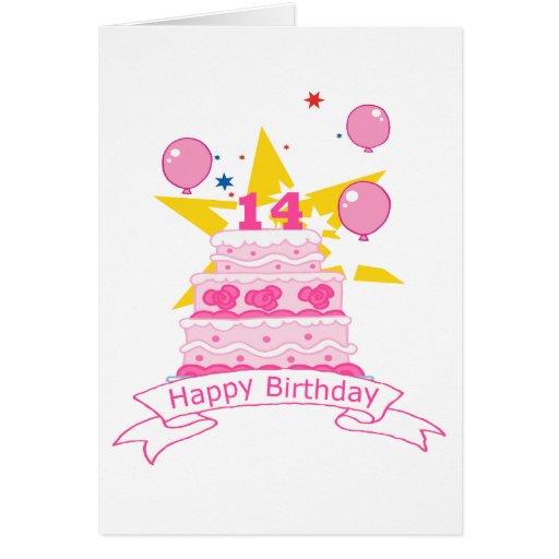 Torta de cumpleaños de 14 años felicitación
