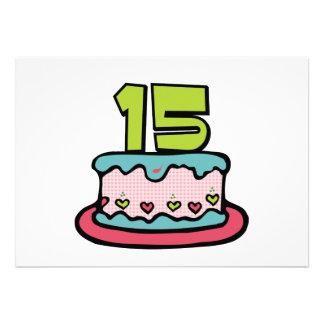 Torta de cumpleaños de 15 años comunicados personales