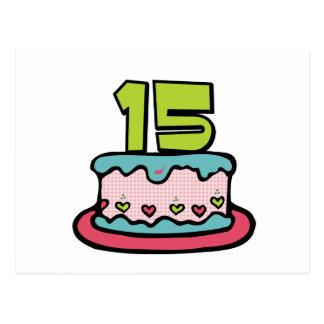 Torta de cumpleaños de 15 años postal