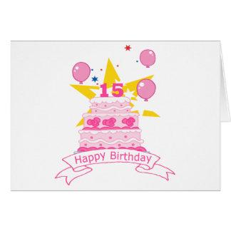 Torta de cumpleaños de 15 años felicitación