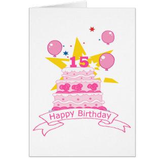 Torta de cumpleaños de 15 años tarjeta de felicitación