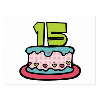 Torta de cumpleaños de 15 años postales