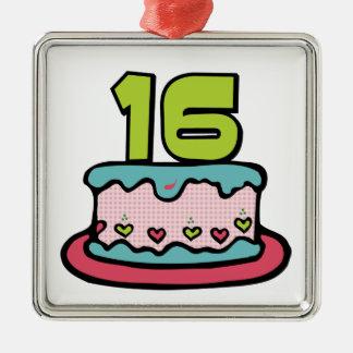 Torta de cumpleaños de 16 años adorno cuadrado plateado