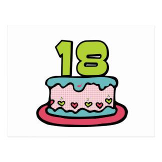 Torta de cumpleaños de 18 años tarjetas postales