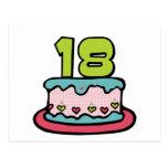 Torta de cumpleaños de 18 años tarjeta postal