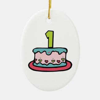 Torta de cumpleaños de 1 año adorno ovalado de cerámica