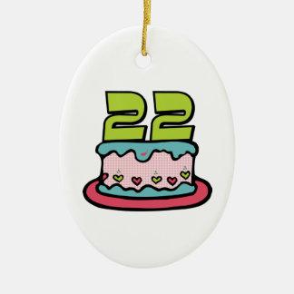 Torta de cumpleaños de 22 años adorno ovalado de cerámica