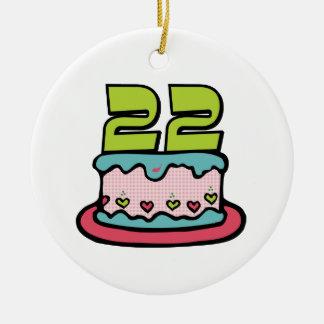 Torta de cumpleaños de 22 años adorno redondo de cerámica