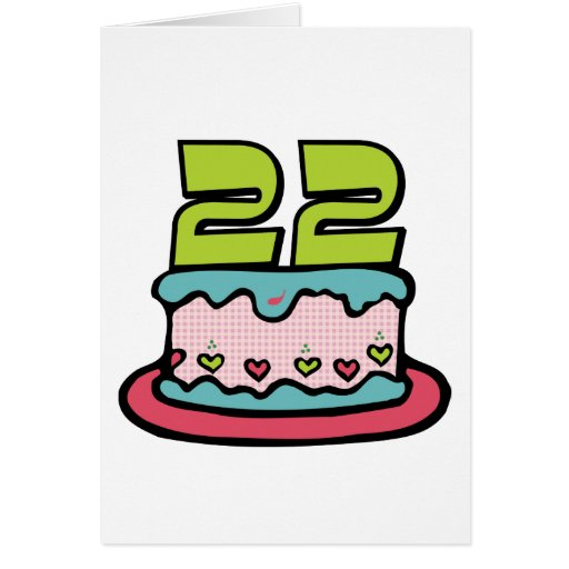 Torta de cumpleaños de 22 años tarjetas