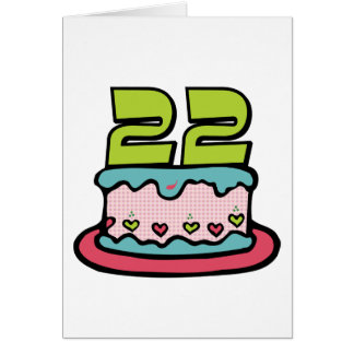 Torta de cumpleaños de 22 años tarjeta de felicitación