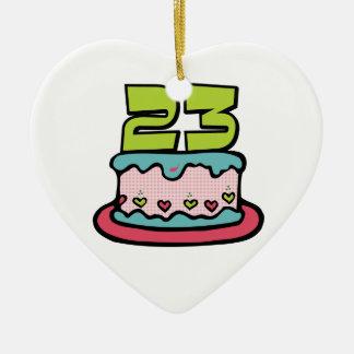 Torta de cumpleaños de 23 años adorno de cerámica en forma de corazón