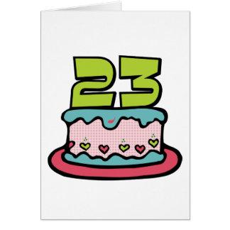 Torta de cumpleaños de 23 años tarjeta de felicitación