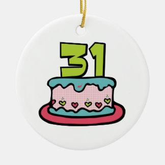 Torta de cumpleaños de 31 años adorno redondo de cerámica