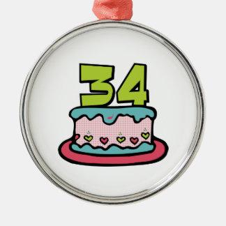 Torta de cumpleaños de 34 años adorno redondo plateado