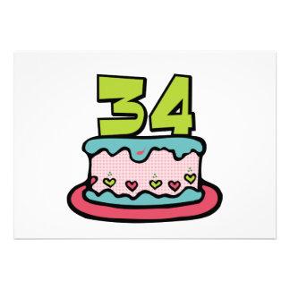 Torta de cumpleaños de 34 años invitación personalizada