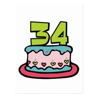 Torta de cumpleaños de 34 años postal