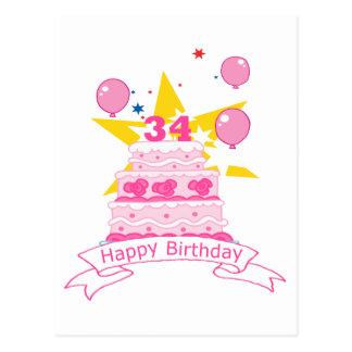 Torta de cumpleaños de 34 años tarjetas postales