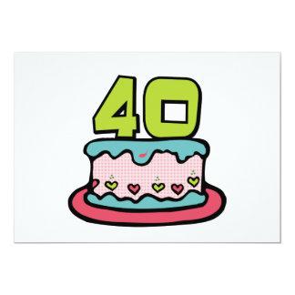 Torta de cumpleaños de 40 años invitación 12,7 x 17,8 cm