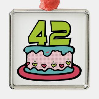Torta de cumpleaños de 42 años ornamento para arbol de navidad