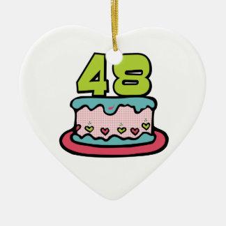 Torta de cumpleaños de 48 años adorno de cerámica en forma de corazón