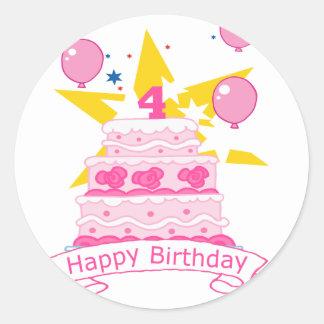 Torta de cumpleaños de 4 años pegatinas redondas