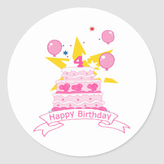 Torta de cumpleaños de 4 años pegatina redonda