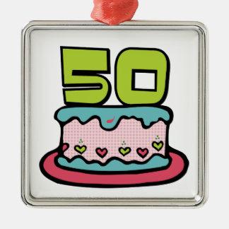 Torta de cumpleaños de 50 años adorno cuadrado plateado