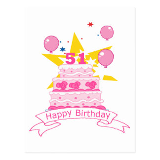 Torta de cumpleaños de 51 años postal