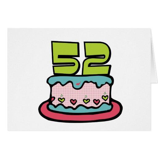 Torta de cumpleaños de 52 años tarjetón