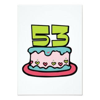 Torta de cumpleaños de 53 años invitación 12,7 x 17,8 cm