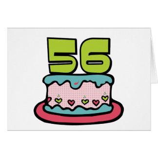 Torta de cumpleaños de 56 años tarjeta de felicitación