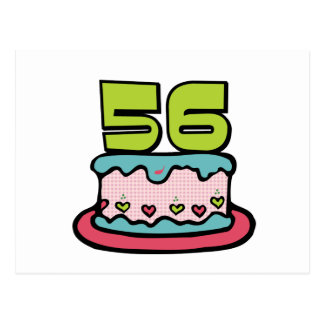Torta de cumpleaños de 56 años tarjeta postal