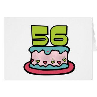 Torta de cumpleaños de 56 años tarjetón