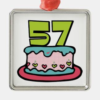 Torta de cumpleaños de 57 años adorno cuadrado plateado