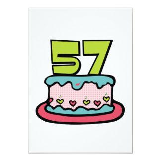 Torta de cumpleaños de 57 años invitación 12,7 x 17,8 cm