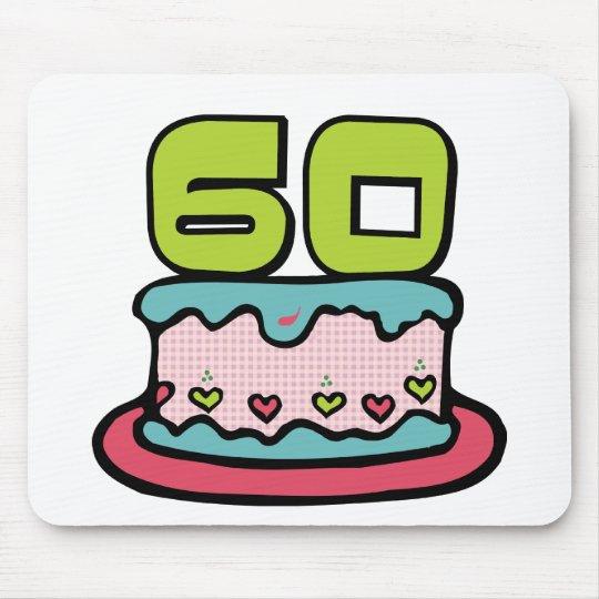 Torta de cumpleaños de 60 años alfombrilla de ratón