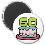 Torta de cumpleaños de 60 años iman de nevera