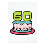 Torta de cumpleaños de 60 años invitación 12,7 x 17,8 cm