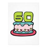 Torta de cumpleaños de 60 años anuncio personalizado
