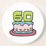 Torta de cumpleaños de 60 años posavasos personalizados