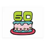 Torta de cumpleaños de 60 años postal